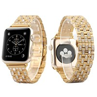 Custom 42mm 14k Gold Finish Stainless Steel Apple Watch band