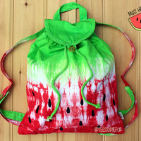 Watermelon Tie Dye Ombre Backpack Bag