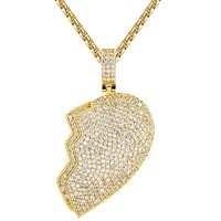 Custom Broken Heart Right Half Bling Rapper Mens Pendant