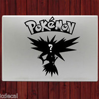 Who's That Pokemon It's Zapdos Decals Stickers For Macbook 13 Pro Air Decal