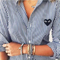 Comme des garçon play Fashion Men Women Casual Stripes Long Sleeve Shirt Top