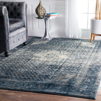 nuLOOM Traditional Vintage Fancy Blue Rug (9' x 12') | Overstock.com Shopping - The Best Deals on 7x9 - 10x14 Rugs