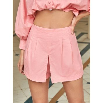 Zip Side Culotte Shorts