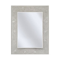 Rectangle Bathroom Vanity Mirror With Mosaic Crystal Floral Motif Border