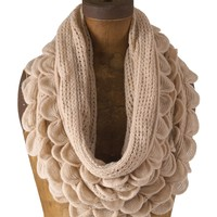 Chic Oversized Ruffle Knitted Infinity Scarf (Oatmeal Cream)