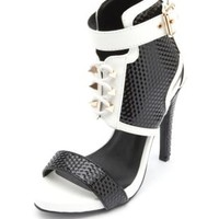 Color Block Textured Patent Lace-Up Heels - Black/White