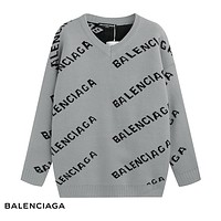 Balenciaga  fashion casual wild simple comfortable long sleeve sweater Gray