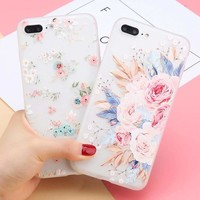 For IPhone X 8 6 6S 7 Plus Fashion Flower 3D Cute Case Cover Silicone TPU Women