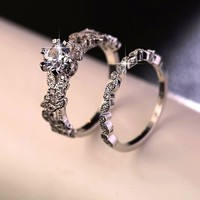 Luxury Silver Round Promise Engagement Ring Set