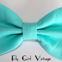 Vintage 1940s Style Hair Bow Clip- Aqua Blue- Fabric Hair Bow-Rockabilly-Pin Up- Mod- For Women, Teens, Girls, Baby, Kids