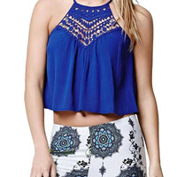 Blue Halter Lace Crop Top