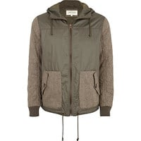 River Island MensKhaki contrast sleeve hooded bomber jacket