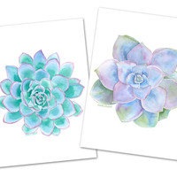 Succulent Watercolor Painting Greeting Card Set
