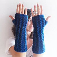 Christmas Sale 20 % OFF Indigo Knit , Fingerless Gloves, Blue Knitted Arm Warmers