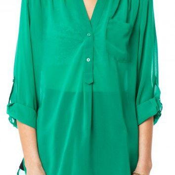 Pure Chiffon Blouse in Kelly Green - ShopSosie.com