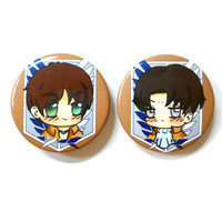 Attack on titan pin - chibi Eren and Rivaille button set of Shingeki no kyojin (2)