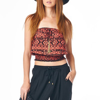 Coral Tribal Print Smocked Tube Top with Gold Chain