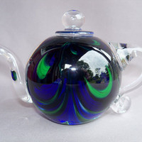 Hand Blown Art Glass Tea Pot  Paperweight by Route4glass on Etsy