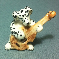 Miniature Ceramic Dalmatian Dog Playing Guitar Music Animal Cute Tiny White Black Figurine Statue Decoration Collectible Hand Painted Craft