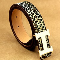HERMES men and women models young wild fashion wild belt Leopard