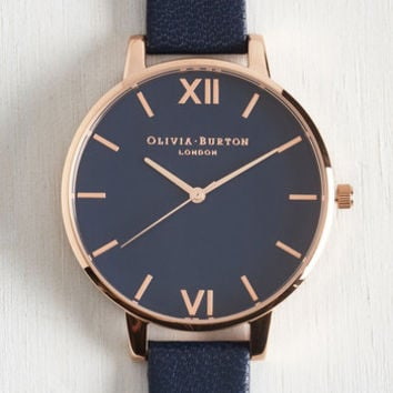 Menswear Inspired Classic Company Watch in Navy Rose Gold - Big by Olivia Burton from ModCloth