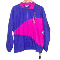 Vintage UMBRO Windbreaker Official Uniform Supplier to the International Sand Soccer Federation Color Purple Pink Neon Green Size Medium