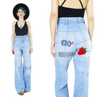 1970s Wrangler Bell Bottom Patchwork Jeans Faded Light Wash Denim Jean Patches Foxy Novelty Womens Vintage Hippie High Waist Jeans (M)