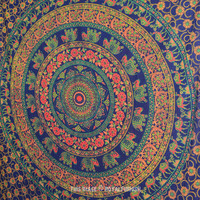Multicolor Twin Size Hippie Bohemian Mandala Indian Tapestry Wall Hanging on RoyalFurnish.com
