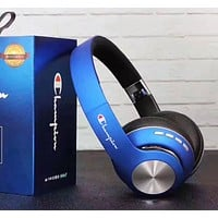 Champion Fashion New Letter Print Women Men Wireless Bluetooth Noise Cancelling Headset Headphones Blue