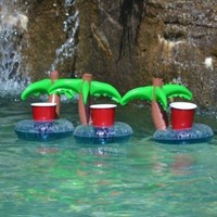 Floating Palm Island Drink Holder 3 Pack