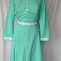 1960s Embroidered Mint/White Dress with Matching Belt L/XL