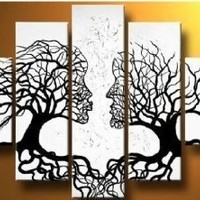 100% Hand-painted Wood Framed Wind Floating Tree Home Decoration Landscape Framed Oil Painting on Canvas 5pcs/set Mixorde