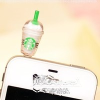 OOOUSE Hot New Starbucks Coffee Style 3.5mm Headphone Anti-dust Plug Cap for Iphone 4 4S Samsung Galaxy HTC LG - White Color