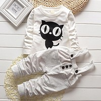 Baby Boy Clothes Spring Autumn OWL Print Long T-Shirt T-shirt Tops + Overalls Pants 2PCS Outfits Kids Bebes Jogging Suit
