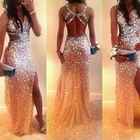 Sexy 2015 Sheath Halter Champagne Tulle Beaded Slit Open Back Long Evening Dresses Evening Gown Prom Dresses Prom Gown
