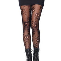 Pirate Booty Skull Net Pantyhose - One Size