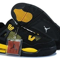 Hot Nike Air Jordans 4 Retro Women Shoes Black Grey Yellow