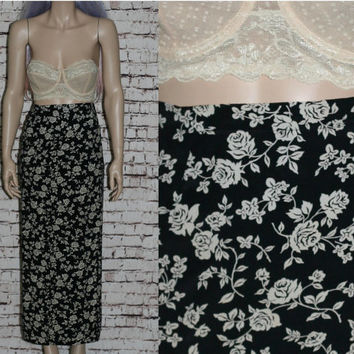 90s High Wasit Maxi Skirt Wrap Rayon Black Floral Print Beige Grunge Boho Festival Hipster Witchy Witch Nu Goth Gothic M Medium