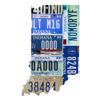 Indiana License Plate wall decal