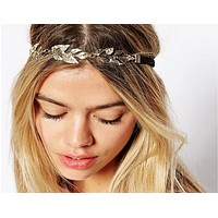 Fashion metal leaves inlaid with hair chain hair chain hair chain