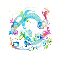 Watercolor Print, Abstract Floral, Modern, Gift Under 40, Wall Decor, Turquoise, Fuchia Pink, Cerulean Blue