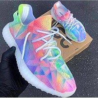 Adidas Yeezy 350 Boost Rainbow Diamond Print Shoes Colorful Shoes