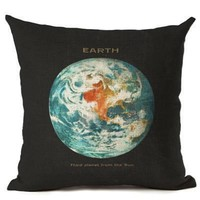 Linen Cotton Planets Square Throw Pillow Cushion Cover