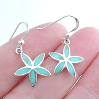 Silver Earrings, Turquoise Earrings, Silver Jewelry, Turquoise Jewelry, Summer Jewelry, Earrings, Jewelry, Flower Earrings, Flower Jewelry.