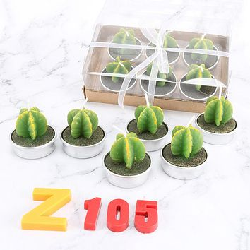 Succulents Cactus Candle 6 Pack Birthday Smokeless Creative Craft Candle Fragrant Candle