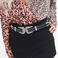 Pretending Black Studded Double Buckle Western Belt