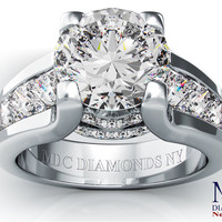 Engagement Ring - Modern Round Diamond Engagement ring princess diamonds band in 14K White Gold - ES550PRBRWG