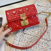 Dior Fashionable Women Leather Metal Chain Shoulder Bag Crossbody Satchel Red