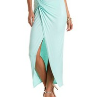 Ruched & Knotted Maxi Skirt by Charlotte Russe - Mint