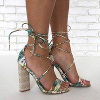 Wrap City Pineapple Print Heels